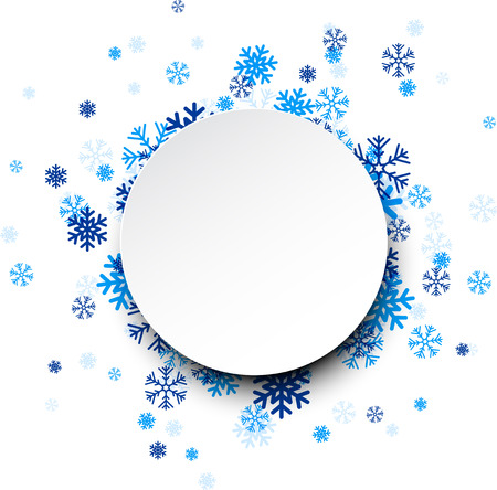 christmas fun: Paper round card on blue snowflakes. Illustration