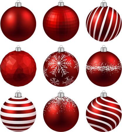 Red christmas balls on white surface.  Vector
