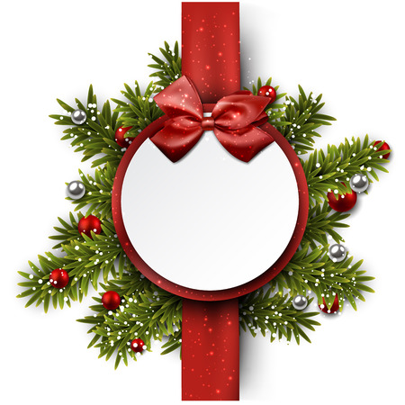 Christmas paper ball with red ribbon and satin bow.  Vector