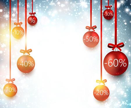 Set of sale christmas balls background.  Vector