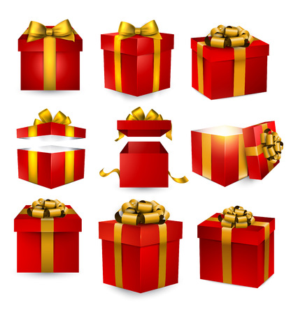 Collection of 3d gift red boxes with satin golden bows. Realistic vector illustration.