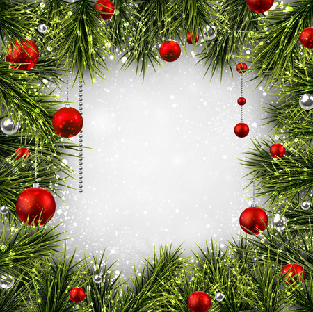 Winter background with spruce twigs and red baubles. Christmas vector frame. Eps10. Vector