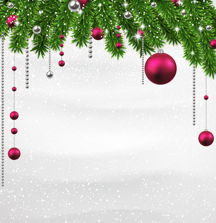 magenta decor: Winter background with spruce twigs and magenta baubles. Christmas vector frame. Eps10.