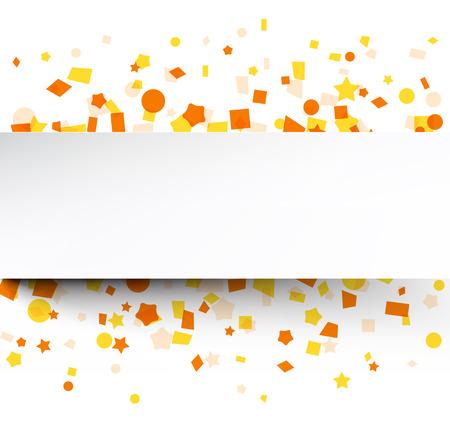 Paper card on orange celebration confetti. Vector background. Ilustração
