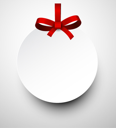 satin round: Christmas round gift card with red ribbon and satin bow. Vector illustration.