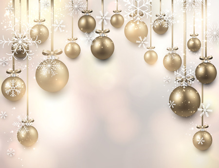 christmas balls: Abstract arc background with golden christmas balls. Vector illustration.