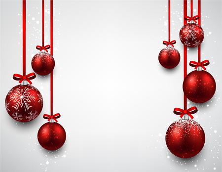 moños navideños: Conjunto de fondo rojo bolas de navidad. Ilustración del vector.