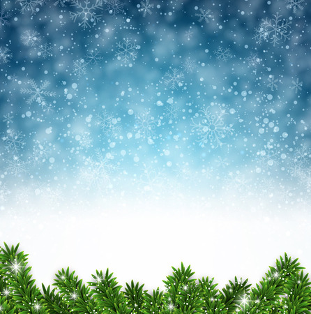 blue christmas background: Winter abstract background. Christmas illustration with snowflakes and sparkles. Vector. Illustration