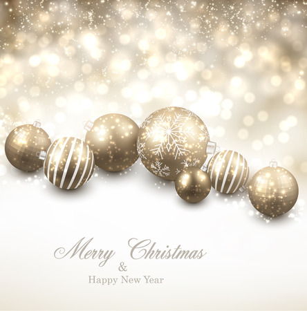 Winter background. Fallen defocused snowflakes. Christmas golden balls. Vector illustration. Vector