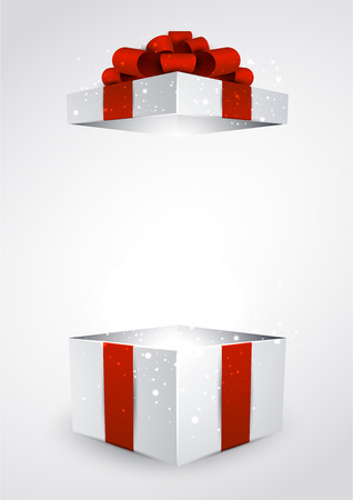 gift parcel: Opened 3d realistic gift box with red bow. Vector illustration.