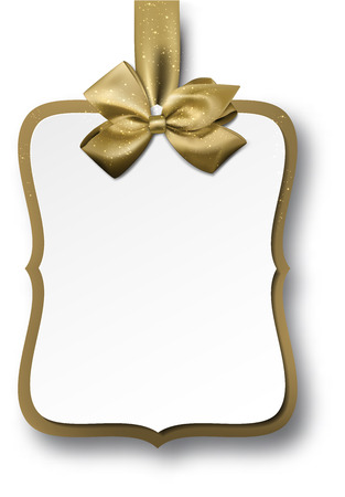 Christmas gift card with golden bow. Vector illustration.