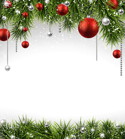 Winter background with spruce twigs and red baubles. Christmas vector frame.