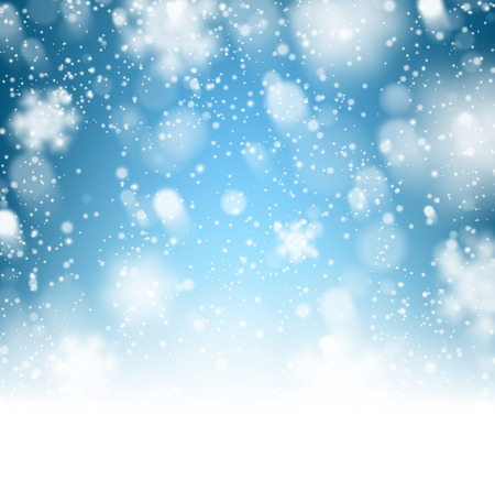 snow track: Winter background. Fallen defocused snowflakes. Christmas. Vector.