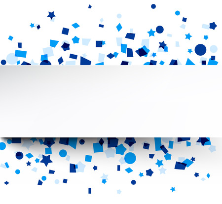 white party: Paper card on blue celebration confetti. Vector background.
