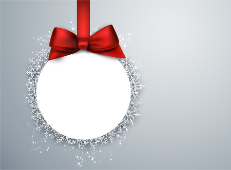 gift bow: Light winter abstract background. Christmas paper ball background with red bow. Vector.