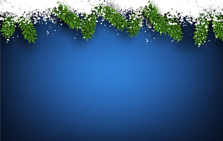 Detailed frame with fir. Blue christmas background. Vector illustration. Vector
