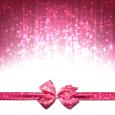 pink bow: Pink winter abstract background. Christmas background with ribbon and bow. Vector. Illustration