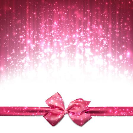 moño rosa: Rosa en invierno resumen de antecedentes. Fondo de la Navidad con la cinta y el arco. Vector. Vectores