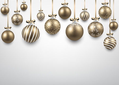 Abstract arc background with golden christmas balls. Vector illustration. Vector