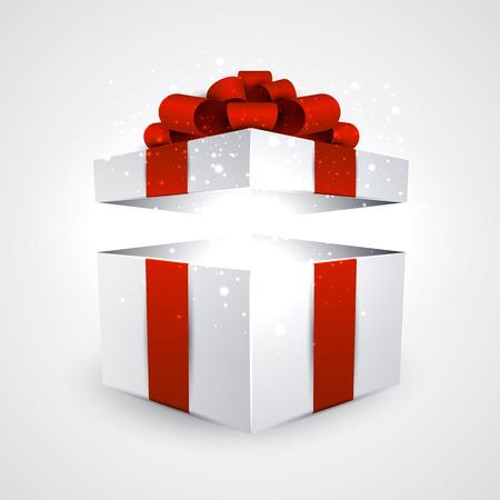 붉은 나비 연 3D 현실적인 선물 상자. 벡터 일러스트 레이 션.