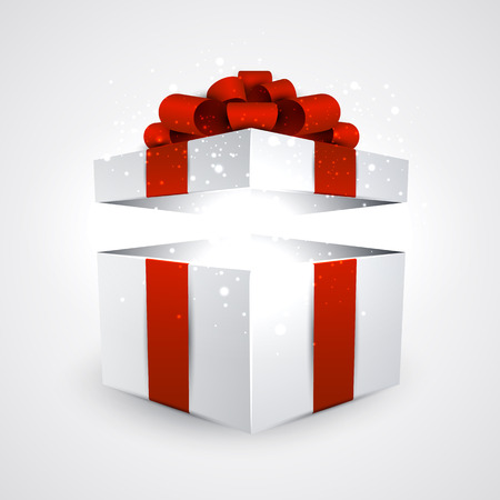 Opened 3d realistic gift box with red bow. Vector illustration.