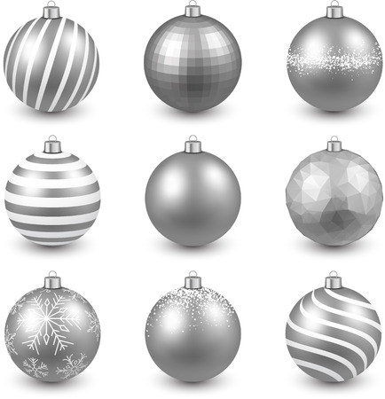 silver balls: Silver christmas balls on white surface. Set of realistic decorations. Vector illustration.