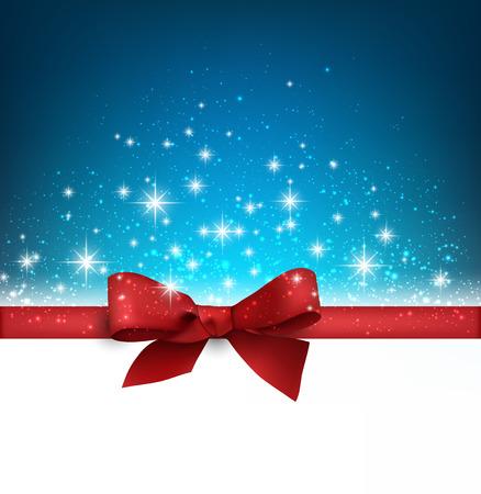 moños navideños: Invierno fondo azul con copos de nieve crystallic con cinta y arco de regalo. La decoración de Navidad. Vector.