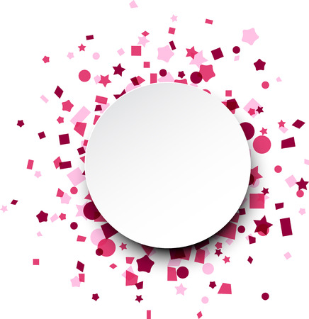 to surprise: Paper round card on pink celebration confetti. Vector background. Illustration