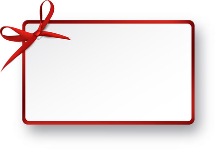 Christmas rectangle gift card with red satin bow. Vector illustration. Stock Illustratie