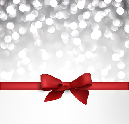 Shiny silver christmas background with red bow. Vector Illustration. Ilustração