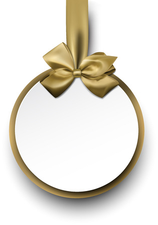 satin round: Christmas round gift card with golden ribbon and satin bow. Vector illustration.