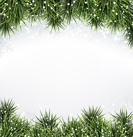 Winter abstract background with spruce twigs. Christmas vector frame. Vector