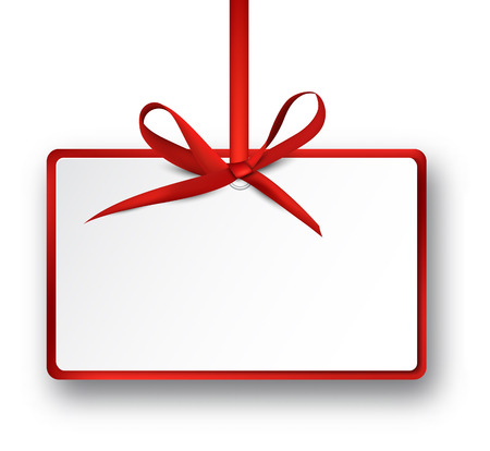 Noël rectangle carte-cadeau de satin rouge arc. Vector illustration.