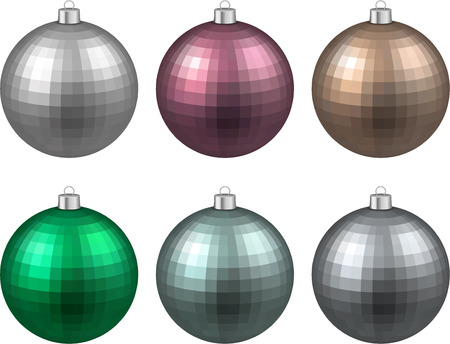 Colorful christmas balls. Set of textured realistic decorations. Vector