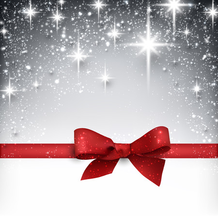 Shiny silver starry christmas background with red bow.  Vector