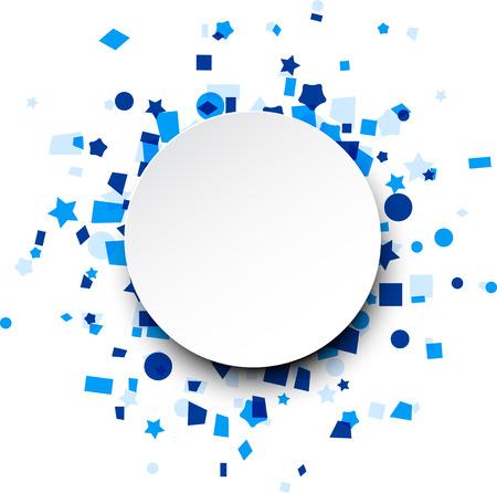 Paper round card on blue celebration confetti. Vector background. Stock Illustratie