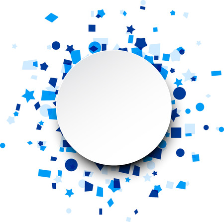 Paper round card on blue celebration confetti. Vector background. Vectores