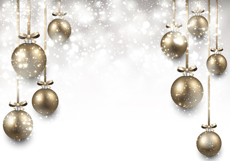 Abstrac background with golden christmas balls. Vector illustration. Vector