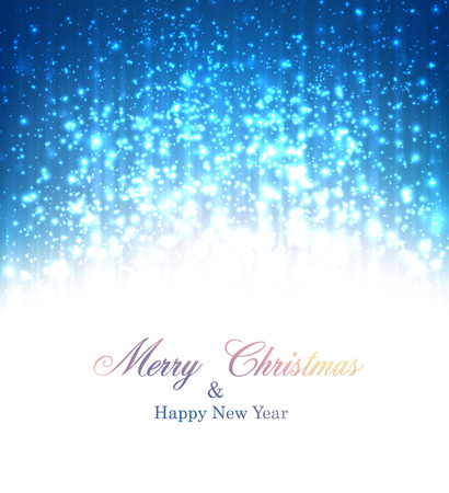 Blue winter abstract background. Christmas background with snowflakes and sparkles. Vector. Vector