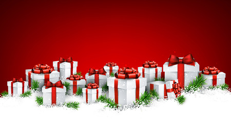 christmas gifts: Abstract red christmas background with fir branches and realistic gift boxes. Vector illustration. Illustration