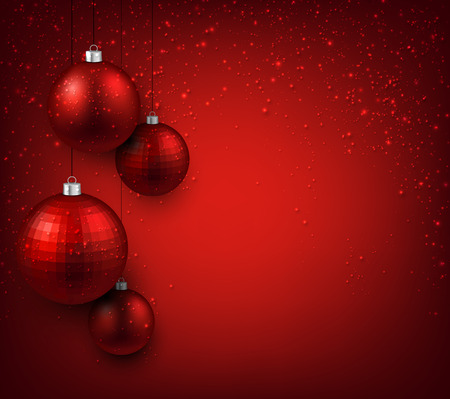 3d ball: Abstract background with red christmas balls. Vector illustration.