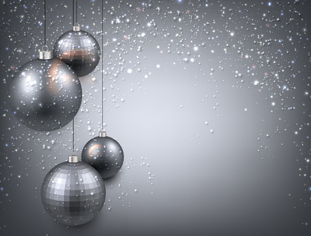 Abstract background with silver christmas balls. Vector illustration. Vector