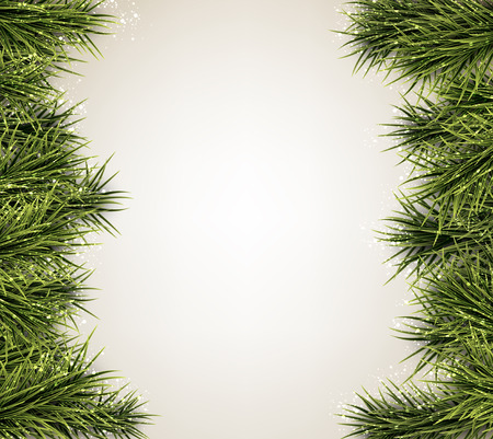 christmas tree decorations: Winter abstract background with spruce twigs. Christmas vector frame. Eps10.