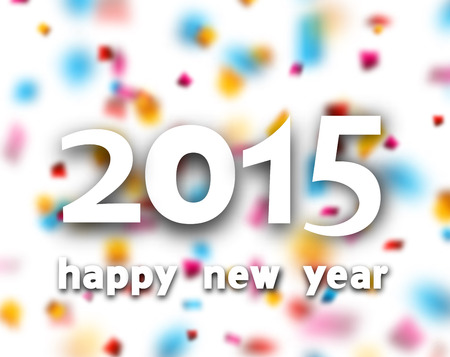 Happy 2015 new year word over defocused confetti background Vector