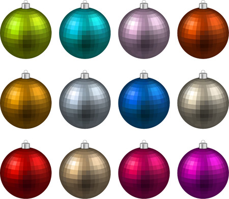 Colorful christmas balls Set Vector