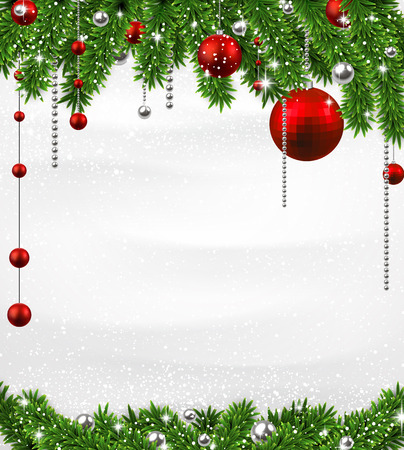 Winter background with spruce twigs and red baubles Vector