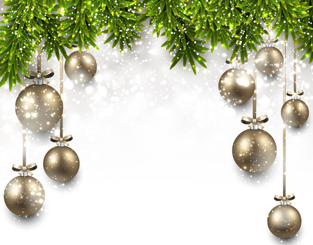 Christmas illustration with fir twigs and golden balls Vector