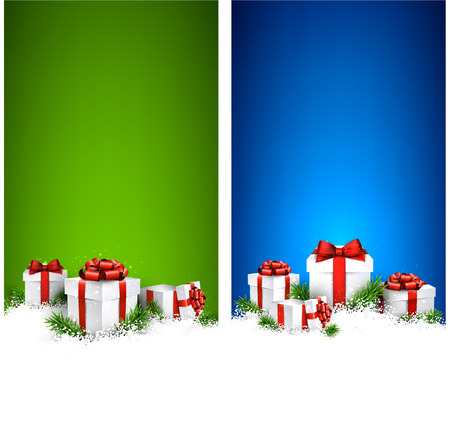 tree vertical: Stripe vertical christmas banners with fir branches and realistic gift boxes. Vector illustration.