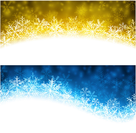 Colored winter abstract banners. Christmas background with snowflakes. Vector. Vector