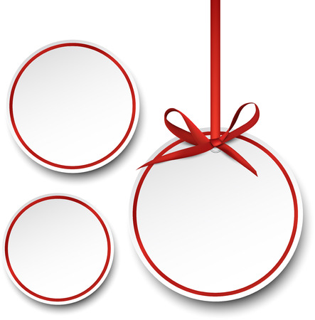 Christmas round gift cards with red ribbons and satin bows. Vector illustration. Vector